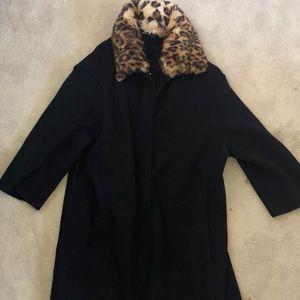 Leopard collared coat